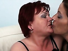 Old lesbian redhead fucking with two hot