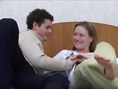 Cute russian teen couple fucks