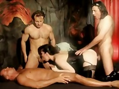 Bitch in latex gangbanged by three guys