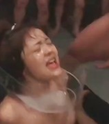 Young asian bitch gets several men to spray her with cum on the face