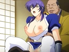Busty anime babe gets her pussy drilled from behind by big dude