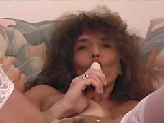 Horny mature babe using dildo on webcam