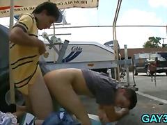 Suhuvõtmine Gei Hardcore Avalikus Kohas Õues