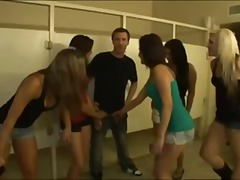 Five stunning party girls crash a college party & start an orgy
