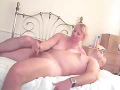 Sexy mature lady  pantyhose tease  handjob
