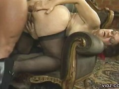 Naughty mature and young bitches in wild orgy