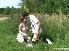 Teen girl fucking in the grass