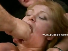 Brunette gets her cunt fucked hard in public during the day while also having her ass abused