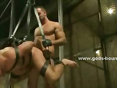 Drooling prisoner is flogged spit on humiliated and fucked while bound in leather
