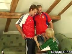 Granny football fan fucked hard