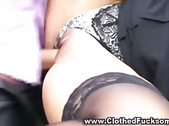 Glamorous clothed blowjob and fuck couple