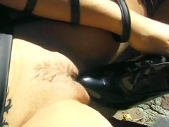 Brunette is horny and alone outside but rubs one out anyway
