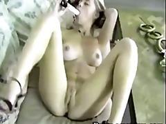 Amatöör Beib Rinnakas Dildo Masturbeerimine