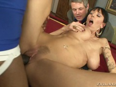 Huge tited milf bans the big cock as her husband watches onto