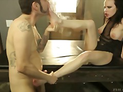 Hot pussy opens her wet mouth and licks his hard dick deep!