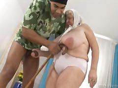 Watch this granny with huge amazing tits getting pounded !