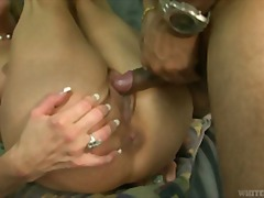 Horny slut bride fucks her masseuse in front of her husband