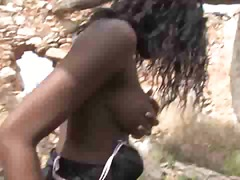 Black girl getting pounded outdoors