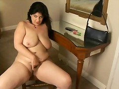 Chubby mature hairy brunette