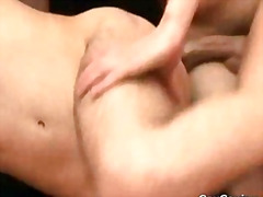 Three gays suck their dicks and kiss with sperm