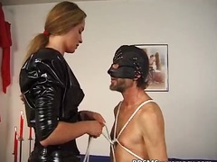 Horny chick dressed in a leather outfit part3