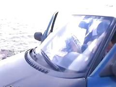 Auto Meisje Groep Buiten Gezichtspunt