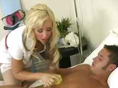 Sexy blonde nurse washes a patient