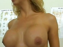 Busty blonde chick gets a blowjob