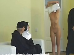Sassy blond takes sexual punishment in the monastery