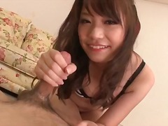 Japanese cutie makes two guys cum