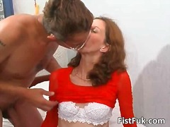 Guy fucks brunettes hairy pussy and fists that cunt