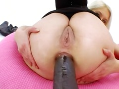 Huge black dildo in her tight bottom