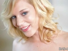 Tight blonde babe strips and toys pussy