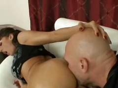 Adorable brunette slut gets her huge ass licked