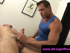 Muscle gay guy face fucks straight guy in massage session