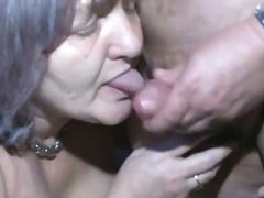 Granny shows up to get fucked by fat guy