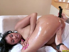 Yasmine rides cowgirl gets her ass oiled up and then rides reverse cowgirl.