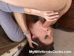 Brunette wife cheats on her hubby