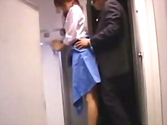 Stewardes getting her pussy fucked from behind by passenger facial on the airplane