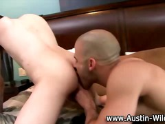 Twink horny hunk licks ass