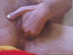 Paulina masturbates her hairy pussy to a thrilling orgasm