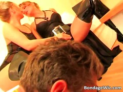 Brutal bondage action with two sexy girls