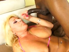 Alexis golden sucks black cock and gets her cunt and ass fucked and cum filled