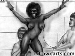 Bondage Cameltoe Homme nu et filles habillées À cheval Travestis