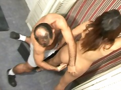 Guy drills small titted latina ass