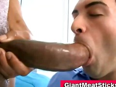 Twink gets mouthful of black cock