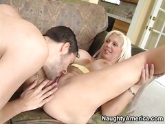 Blown by slutty mom with huge fake tits