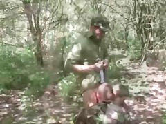 Twink soldiers suck in the forest