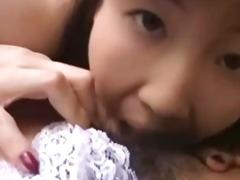 Aggressive tongue kissing in japanese bdsm video