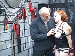 A thick red-headed slut gets nice her tits squeezed